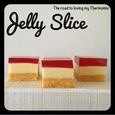 I posted myJelly Cheesecakea few weeks back which was a huge hit. Here is a Jelly Slice recipe that is similar but doesn't contain cream cheese in