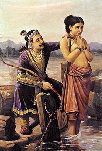 Mahabharata: Raja Ravi Varma painting depicting the scene, King Shantanu wishing to marry the Fisherman's daughter, Satyavati.