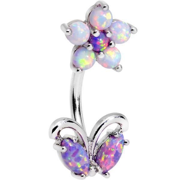 Purple White Faux Opal Flourishing Flower Double Mount Belly Ring