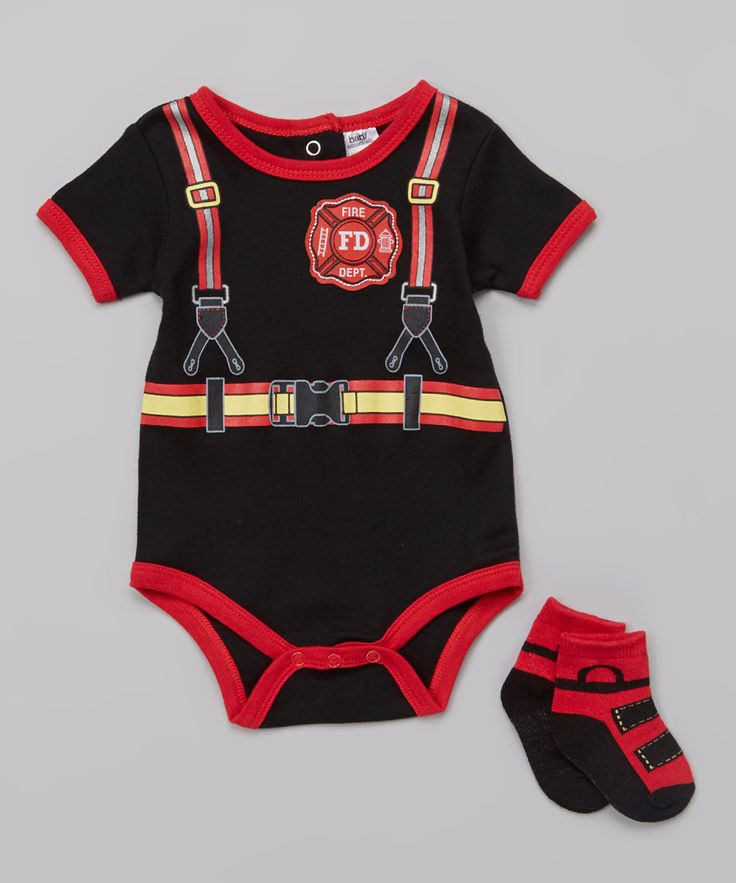 Baby Essentials Black Firefighter Bodysuit & Socks - Infant by Baby Essentials #zulily #zulilyfinds