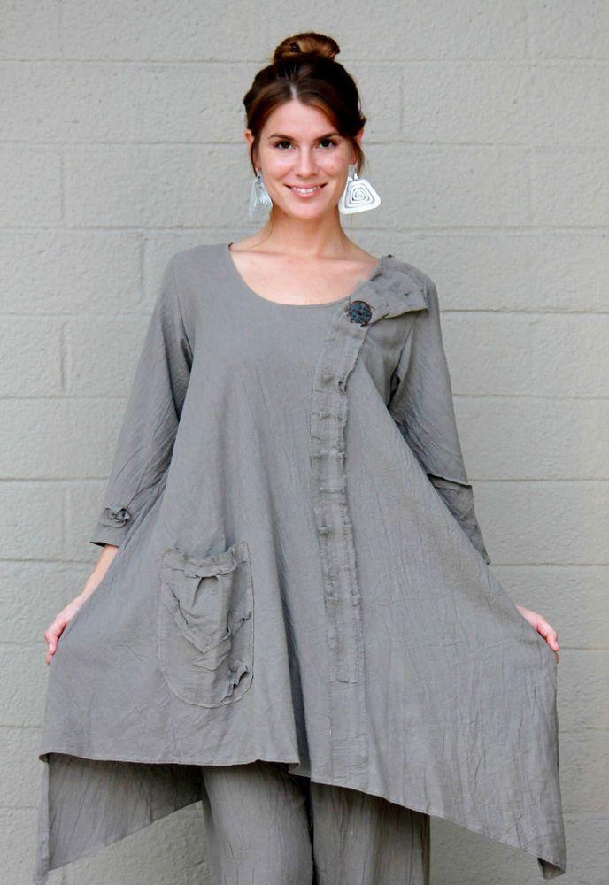 LEE ANDERSEN USA Cotton Gauze  AVERY TUNIC Art-to-Wear Long Top  1X 2X 3X  PUTTY #LEEANDERSEN #Tunic #Versatile