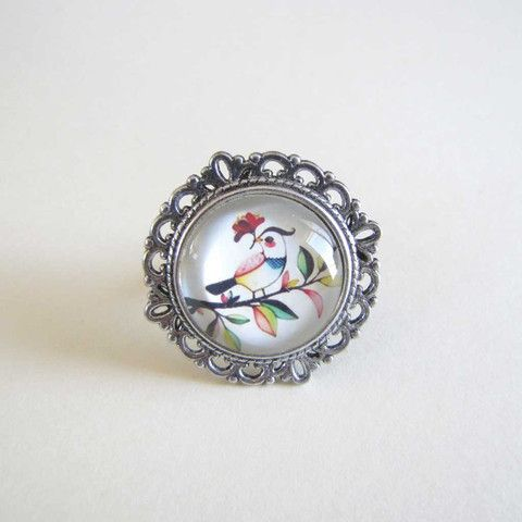 Statement Ring - Bird with Flower only $5 @ OMG! Cute Kitten - Australian Handmade Jewellery