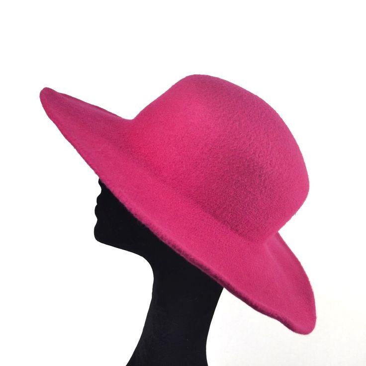 Cappello a tesa larga per l'inverno, colore rubino ...