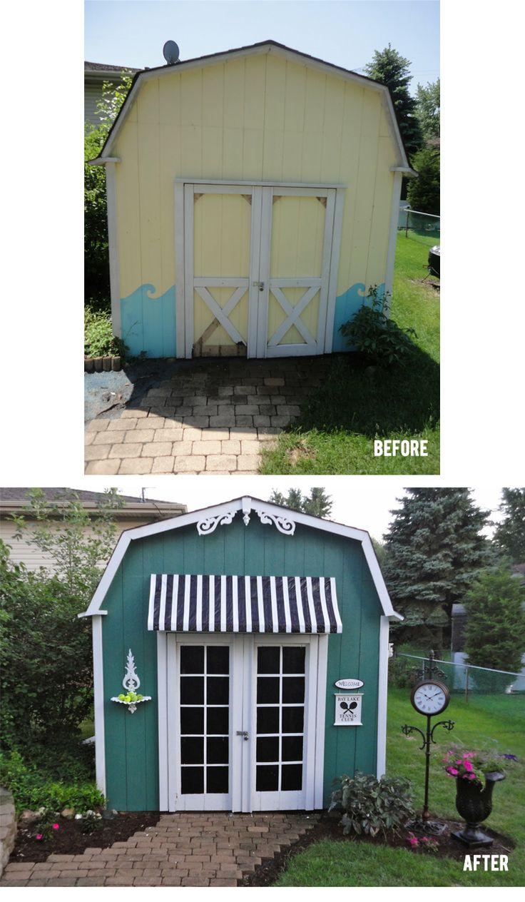 White doors with painted squares to give illusion of French doors  Shed Makeover   #diy #beforeafter