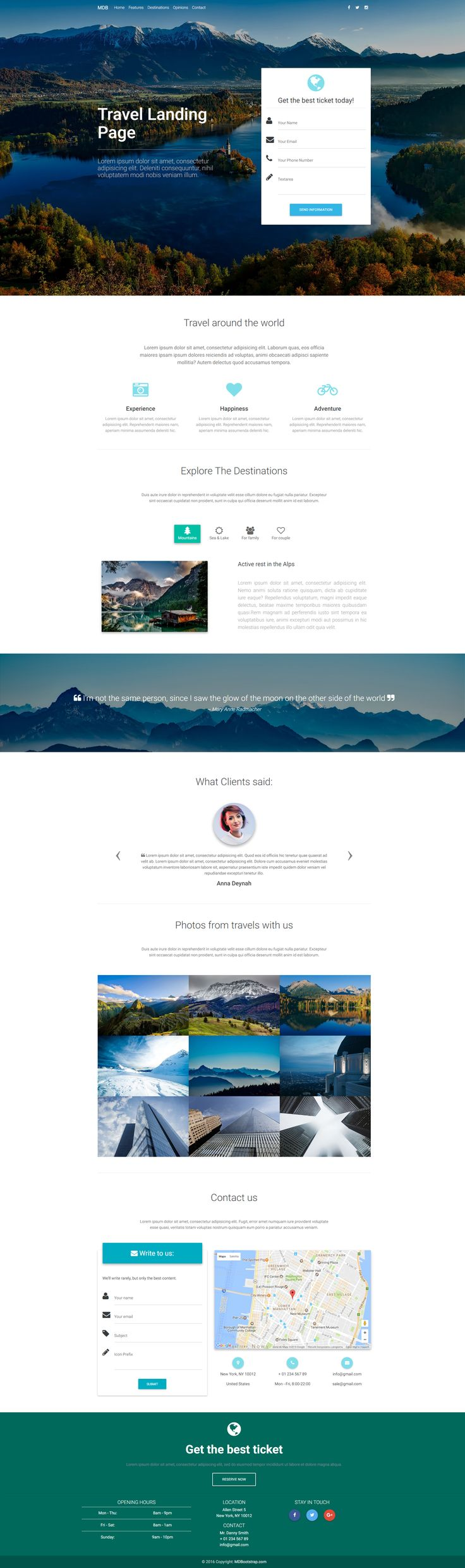 Travel Landing Page Template created with Material Design for Bootstrap