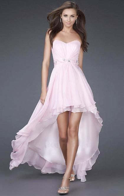 AU HIGH LOW WHITE EVENING FORMAL DRESS  Color: White Fabric: Chiffon Neckline: Strapless, Sweetheart Sleeve: Sleeveless Waist: Dropped Length: High Low Embellishment: Beaded Fully lined: Yes Back details: No Made-To-Order: Yes