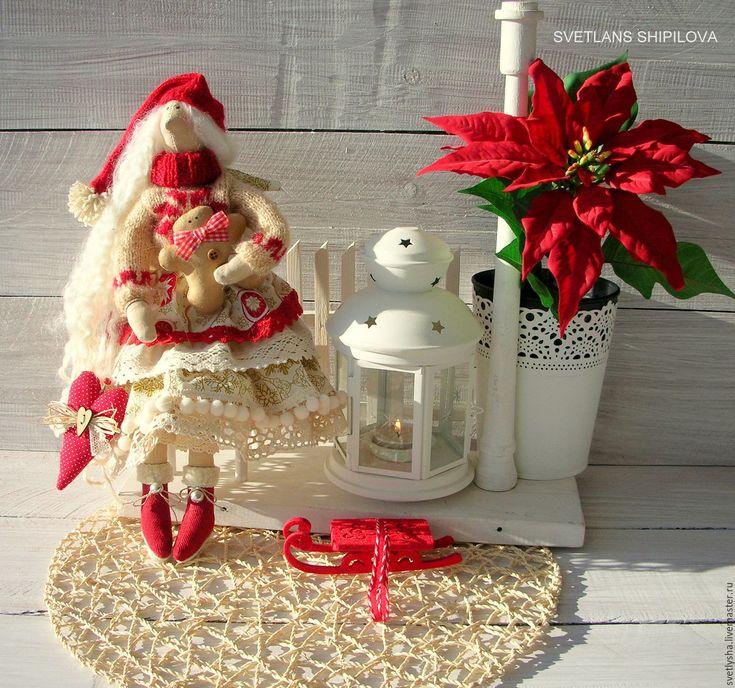 Купить Рождественская Тильда ангел текстильная кукла - ярко-красный, тильда, рождество, Новый Год: