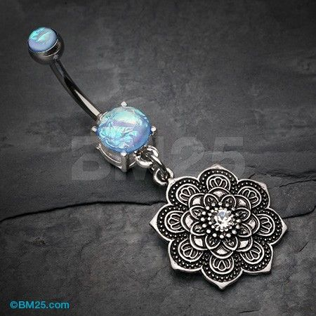 Antique Mandala Flower Iridescent Sparkle Belly Button Ring