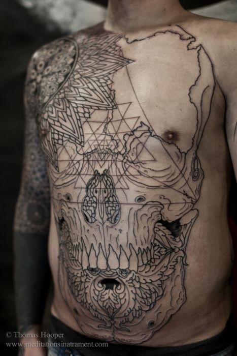 //Skull Tattoo, Tattoo Pattern, Art Piece, Crazy Tattoo, Thomas Hooper, Tattoo Skull, Tattoo Art, Geometric Tattoo, Tattoo Ink