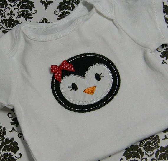 Penguin!!!Ideas, Little Girls, Aplicações Appliques, Awesome, Penguins Parties, Girls Shirts, Penguins Shirts, Baby Girls, Baby Penguins