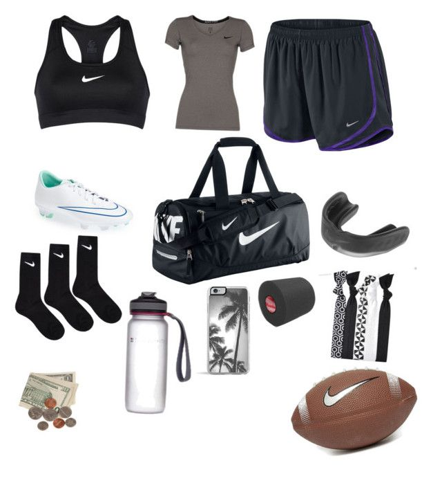 """whats in my flag football bag (practice/game) "" by thepandalover on Polyvore featuring NIKE, Zero Gravity, women's clothing, women, female, woman, misses and juniors"