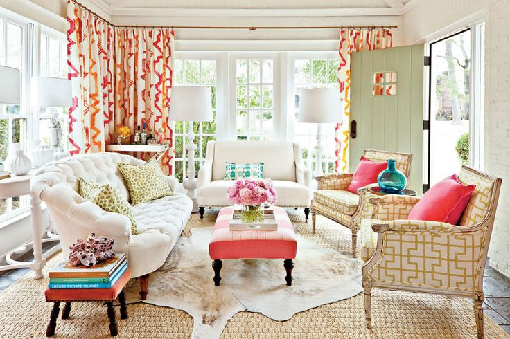 "Decorating Sunrooms with Color - Punch Up Your Palette - Southernliving. For three years, Lindsey Ellis Beatty ushered guests into her home through a front door that opened into an empty and unfinished sunroom. ""I knew I couldn't tackle the room for a while, but the whole time, I was filling a decorating file in my head,"" she says. So when the time came to act, Lindsey knew the direction she would take. ""My husband, Kevin, and I needed a grown-up space that reflected our personalities,"" she…"