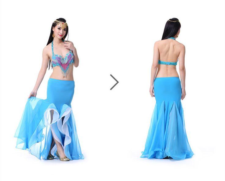 Nuevo 2015 mujeres forman Belly Dance falda del traje de sirena de la colmena doble división larga gitana faldas de baile indio caliente venta en Danza del Vientre de Creativa y Especial en AliExpress.com | Alibaba Group