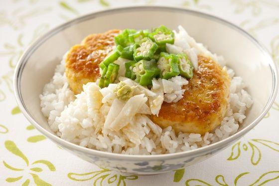 豆腐ハンバーグ丼オクラ長芋添え  http://www.yamasa.com/recipes/583/