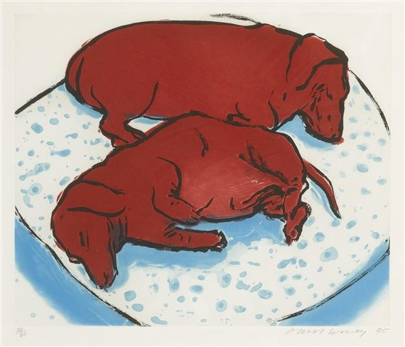 Artwork by David Hockney, HORIZONTAL DOGS (M.C.A.T. 346), Made of Etching and aquatint printed in colors
