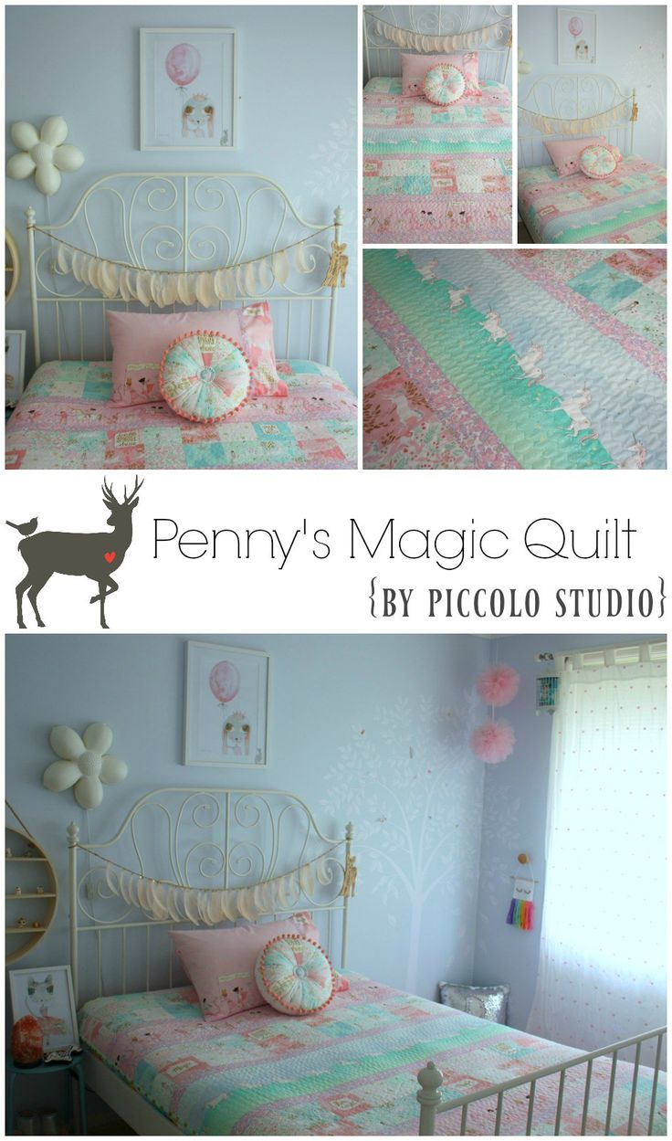 Custom quilt set made using Sarah Jane Magic fabric and Liberty of London Betsy print by www.piccolostudio.com.au
