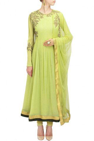 Light green color anarkali suit – Panache Haute Couture