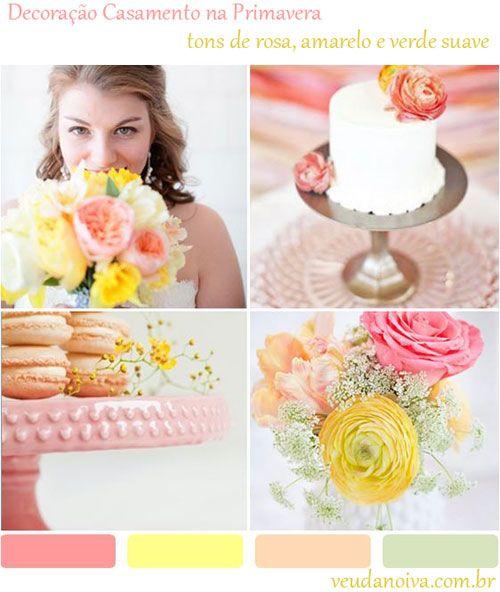 Decoração em tons de Rosa e Amarelo para Casamentos na Primavera