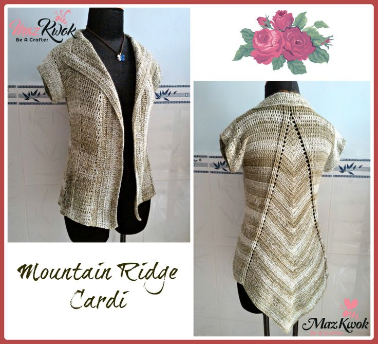 Crochet Mountain Ridge Fitted Type Cardi ~ XL (chest size: 40 to 42) ~ Free Pattern | beacrafter.com