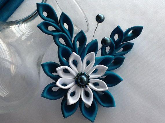 Teal Hair Clip - Teal Blue and White Kanzashi Flower / Hair Accessories Wedding Flowers LihiniCreations