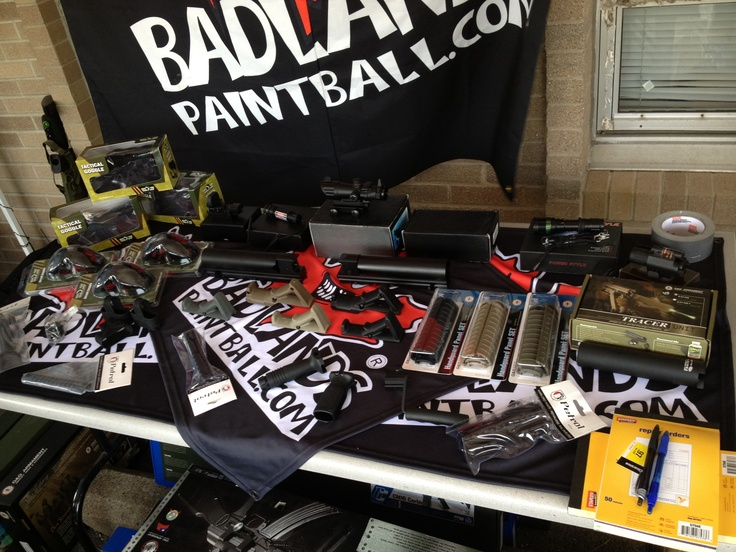 Showing off a variety of tactical accessories an goggles! And this is just the tip of the iceberg! Check out badlandspaintball.com to see them all