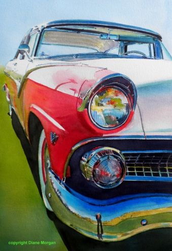 """55 Ford Fairlane"" watercolor ,painting by artist Diane Morgan"