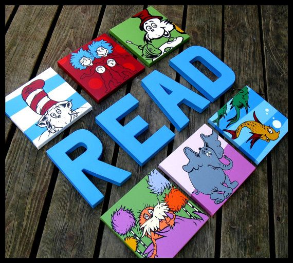 Dr. Seuss Characters Set 10x10's the lorax cat by BlissfulBrush