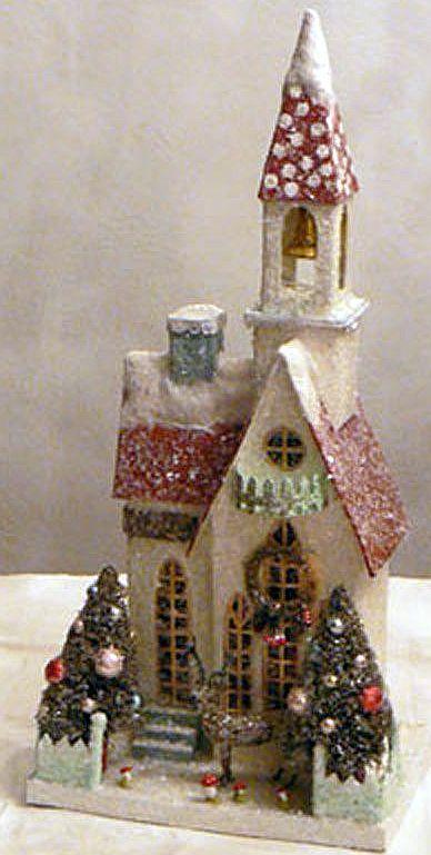 VINTAGE Cardboard CHRISTMAS Villiage Putz Church.                                                                                                                                                                                 More