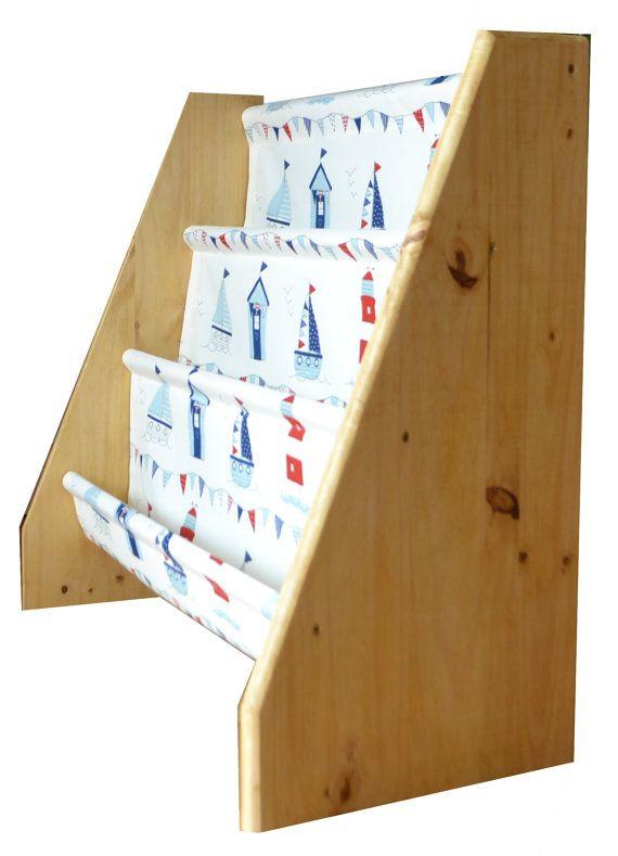 Kinder Holz Buch Sling Bücherregal mit blau marine von BookSlings