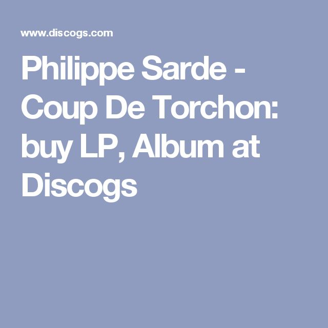 Philippe Sarde - Coup De Torchon: buy LP, Album at Discogs