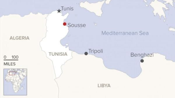 A gunman opened fire on beachgoers at a hotel in Tunisia today, killing at least 39 people and injuring at least 39, officials said. The attack took place at the Hotel Imperial Marhaba in Sousse, a popular resort town on the northeast coast of Africa. The gunman was not known to authorities, security official Rafik Chelli told Tunisia radio station Mosaique FM.
