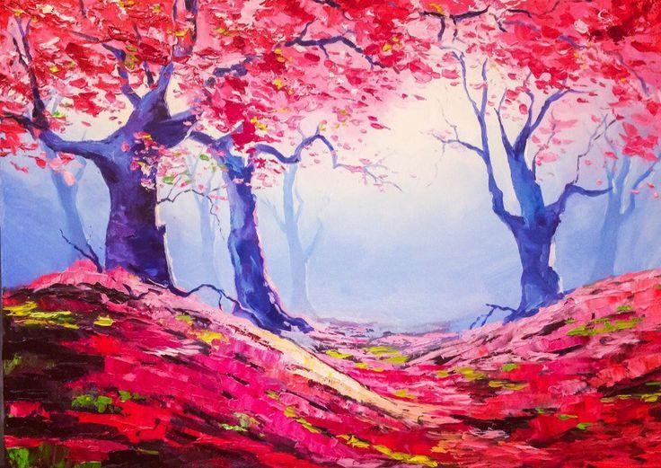 Меня зовут Полина Сахарова, я провожу мастер классы живописи в Москве. Не знаете куда пойти? Вы напишете красивую картину маслом на холсте с моей помощью за 4 часа. Стоимость 2500 р - все включено! Спешите записаться +79153401133  деревья туман загадочный лес красивая картина яркая холст масло живопись арт art master class oil paint painting studio москва уроки живописи маслом научиться рисовать хенд мейд своими руками краски художник искусство handmade идеи творчество импрессионизм мастихин