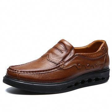 men genuiner leather comfy wearable slip on casual shoes