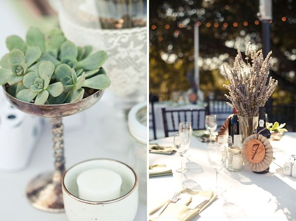 Pretty stellar table settings. Love the little succulents, dried, lavender, and wine bottles!