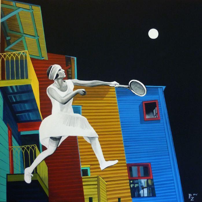 www.paulinazalewska.com Księżycowy tenis wymiary: 100,0 cm. x 100,0 cm. technika: akryl, płótno / 2012