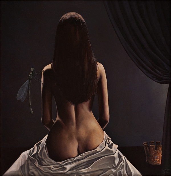 A surrealist painting by Cătălin Precup of a nude woman with a dragonfly on her armSurrealist Art, Cătălin Precup, Precup Create, Catalin Precup, Art Inspiration