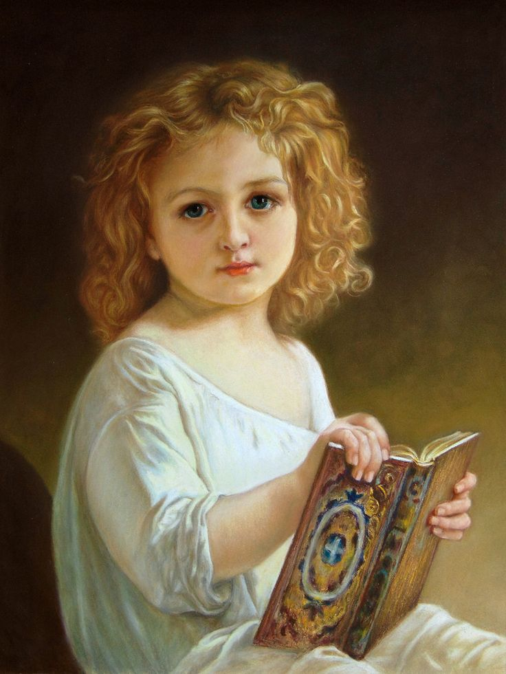 """Pastel painting  Pastelmat, 40x30 cm  (after   WILLIAM-ADOLPHE BOUGUEREAU """"The Story Book"""")"""