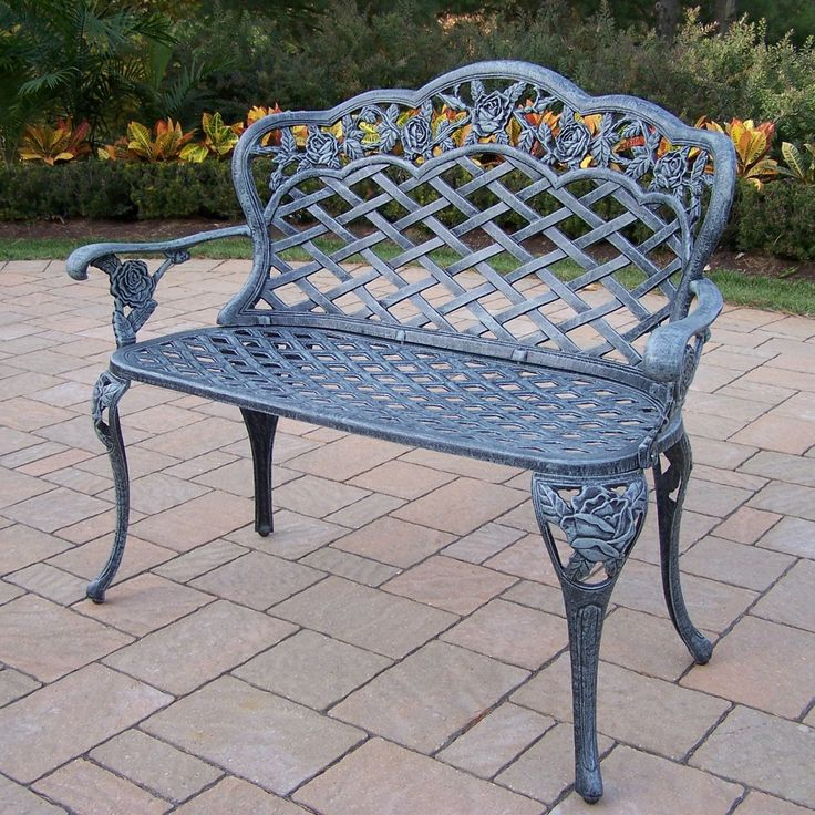 Outdoor Oakland Living Tea Rose Cast Aluminum 41.5 in. Verdi Grey Loveseat Bench - 3006-VG
