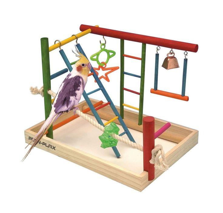 Bird Play Gym Parrot Perch Stand Birds Activity Center Wooden Large Playpen Toy #BirdPlayGym