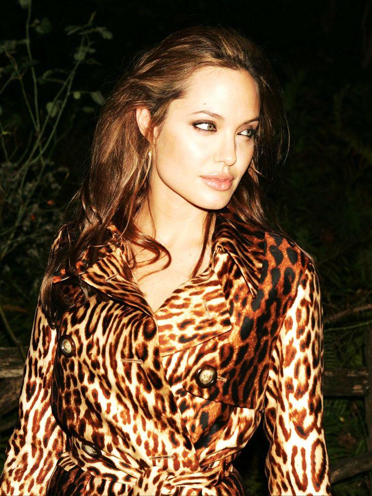Angelina Jolie in a Leopard print Coat