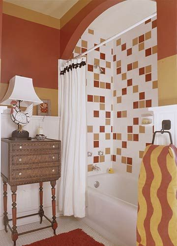 Vibrant Tile Adds Personality. Never considered all these colors in a bath, but it def works.