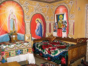 Maramures Traditions - religious subjects painted straight on the walls