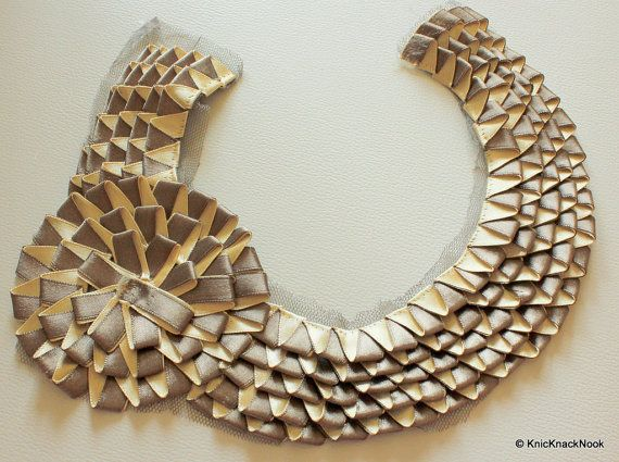 Gold And Bronze Tone Satin Fabric Neck Collar by KnicKnackNook