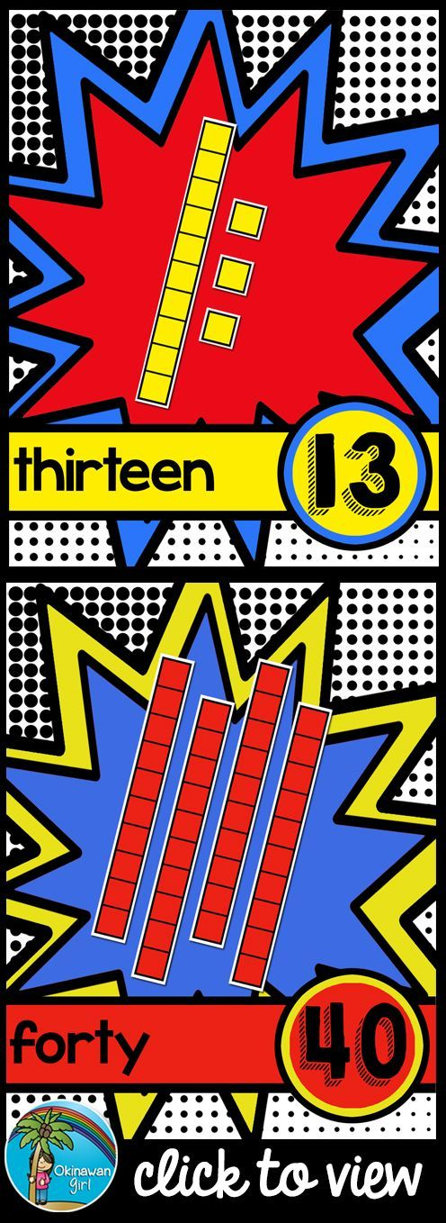 Place Value Posters (0-20 and tens to 100) with a bright superhero theme. Suitable for K-2nd Grade. $