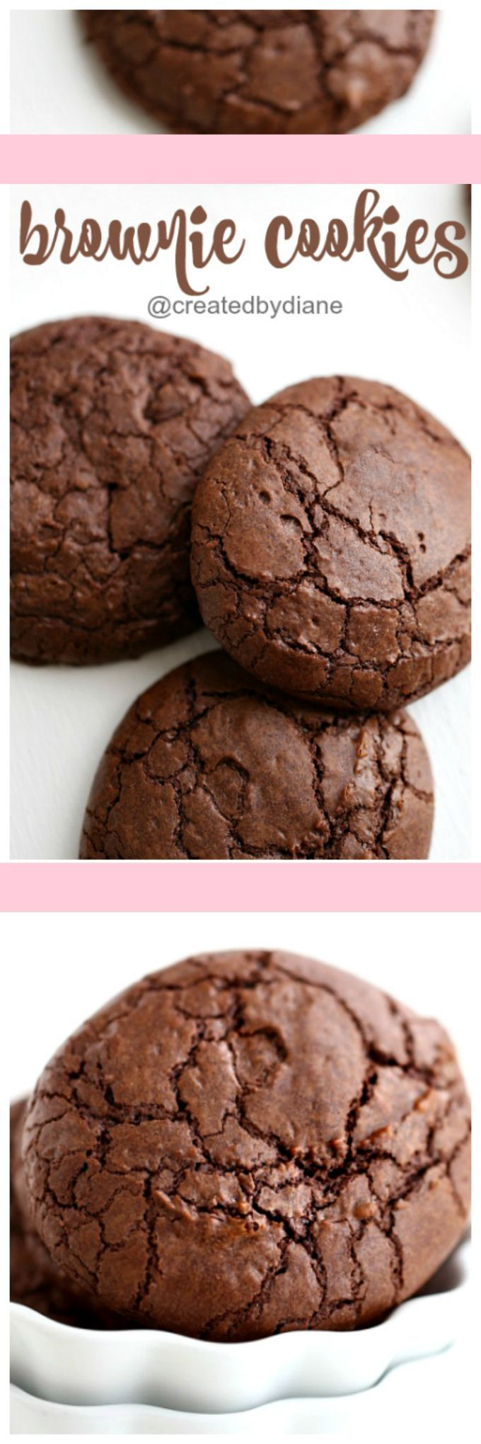 these brownie cookies will have everyone over the moon for them, they taste like brownies are firm and crisp on the edges and chewy and brownie inside video... yes there is a video to see just how easy it is to make these rich delicious dark chocolate brownie cookies @createdbydiane