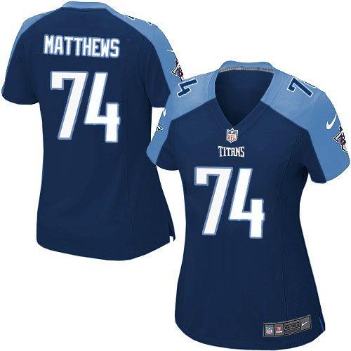 Women Nike Tennessee Titans #74 Bruce Matthews Limited Navy Blue Alternate NFL Jersey Sale