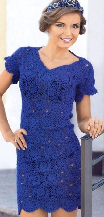 Blue crochet cocktail dress - Made to order, FREE SHIPPING by NinaZaida on Etsy