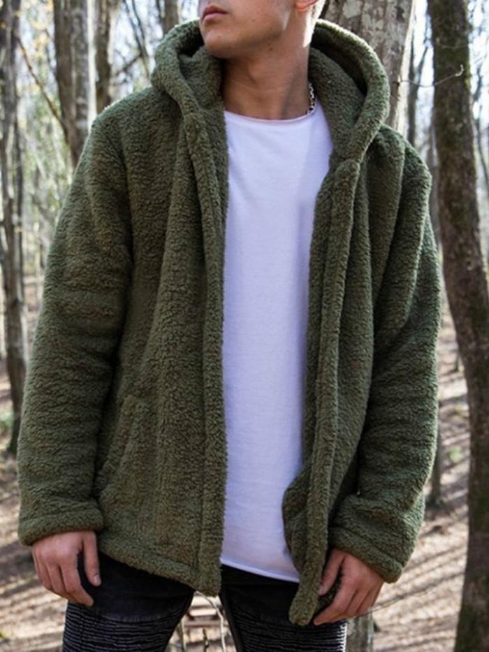 Loose Hooded Teddy Bear Men S Jacket In 2019 Hebedress