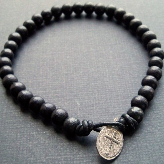 Mens black wooden beaded leather cord bracelet with tibetan silver cross charm fastening $17.50