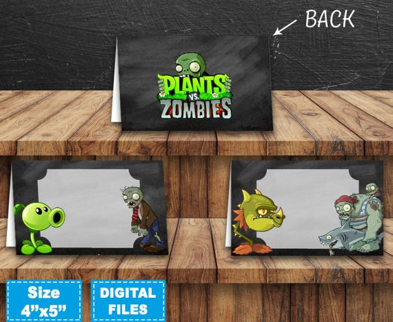 Plants vs zombies food labels, plants vs zombies tent cards, plants vs zombies food tags, plants vs zombies birthday party, party supplies